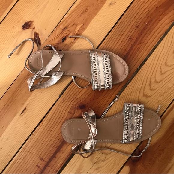 Shoes - Gold Tie Up Sandals